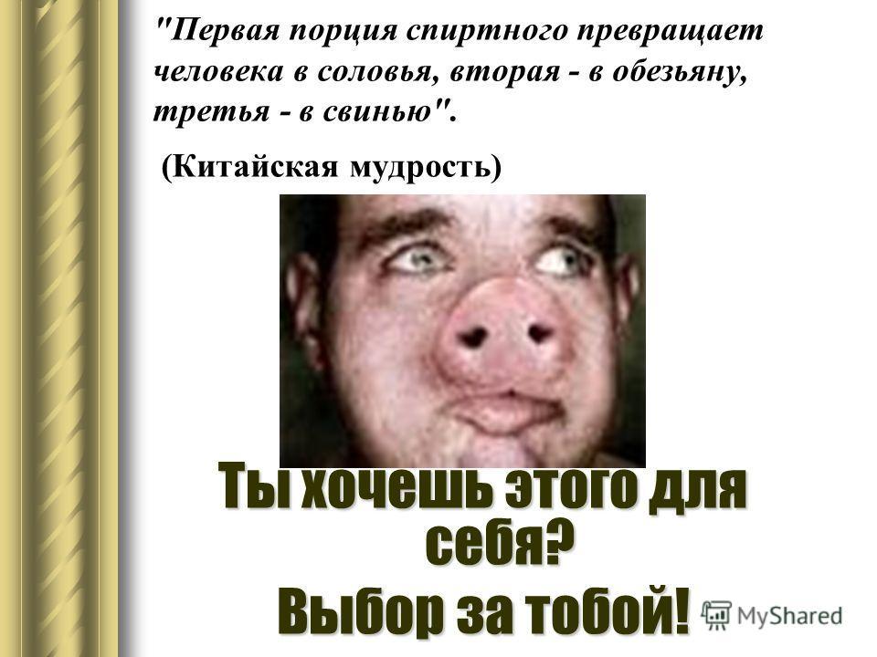 Первая порция спиртного превращает человека в соловья, вторая - в обезьяну, третья - в свинью. (Китайская мудрость) Ты хочешь этого для себя? Выбор за тобой!