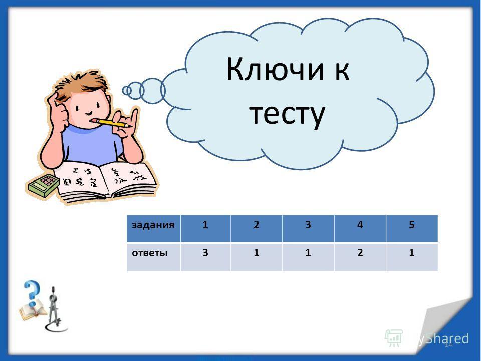 задания12345 ответы31121 14 Ключи к тесту