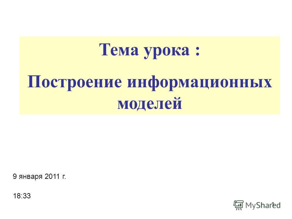 1 Тема урока : Построение информационных моделей 9 января 2011 г. 18:35