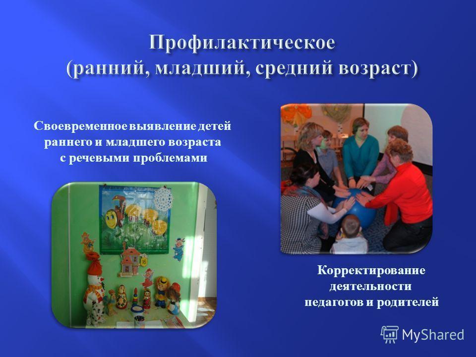 . Своевременное выявление детей раннего и младшего возраста с речевыми проблемами Корректирование деятельности педагогов и родителей