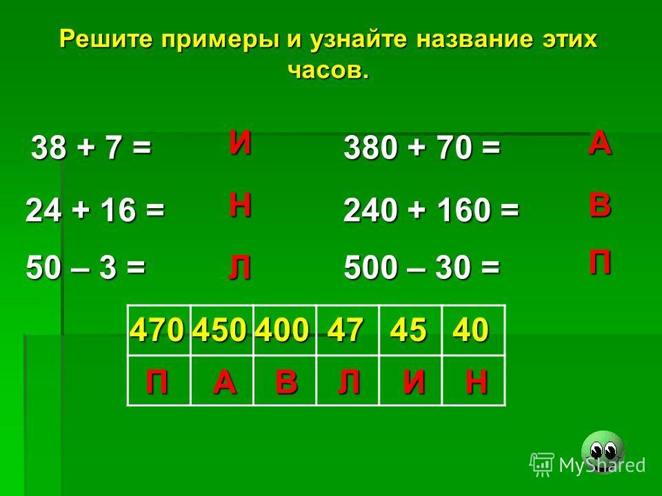 Решите примеры и узнайте название этих часов. 38 + 7 = 24 + 16 = 50 – 3 = 380 + 70 = 240 + 160 = 500 – 30 = И Н Л А В П 470450400474540 ПАВЛИН