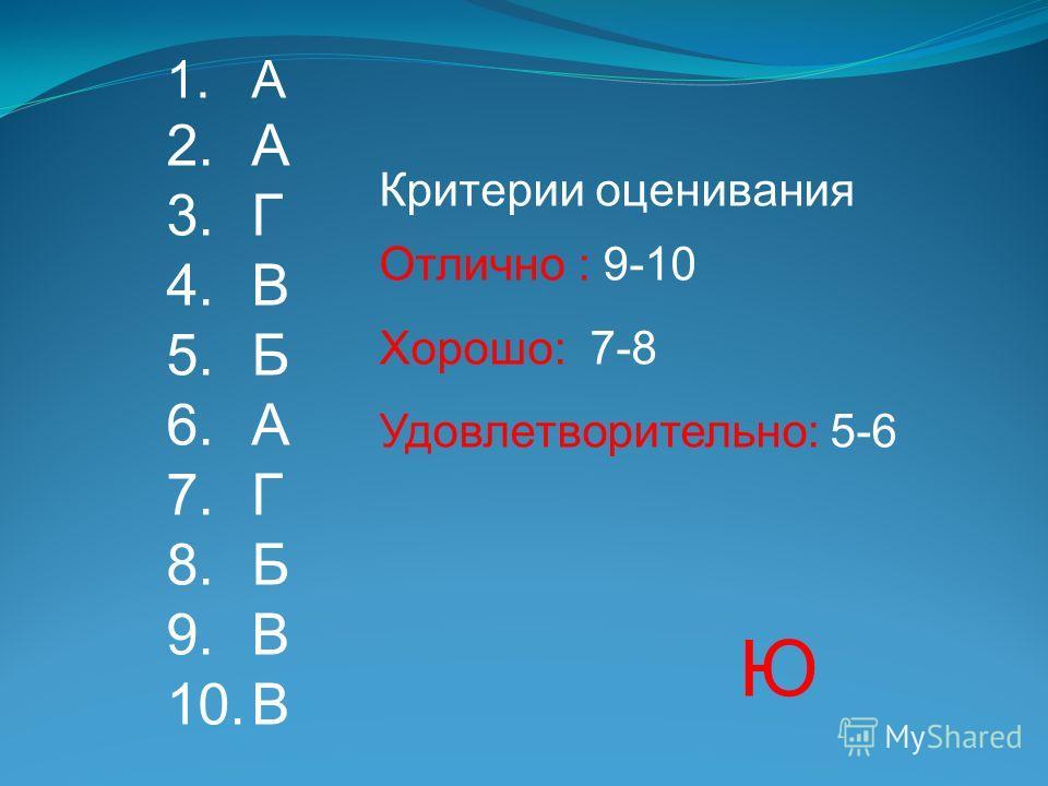 1.А 2.А 3.Г 4.В 5.Б 6.А 7.Г 8.Б 9.В 10.В Критерии оценивания Отлично : 9-10 Хорошо: 7-8 Удовлетворительно: 5-6 Ю