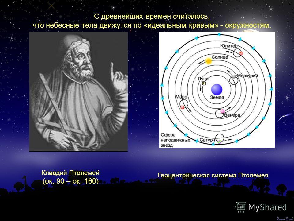 С древнейших времен считалось, что небесные тела движутся по «идеальным кривым» - окружностям. Геоцентрическая система Птолемея Клавдий Птолемей (ок. 90 – ок. 160)