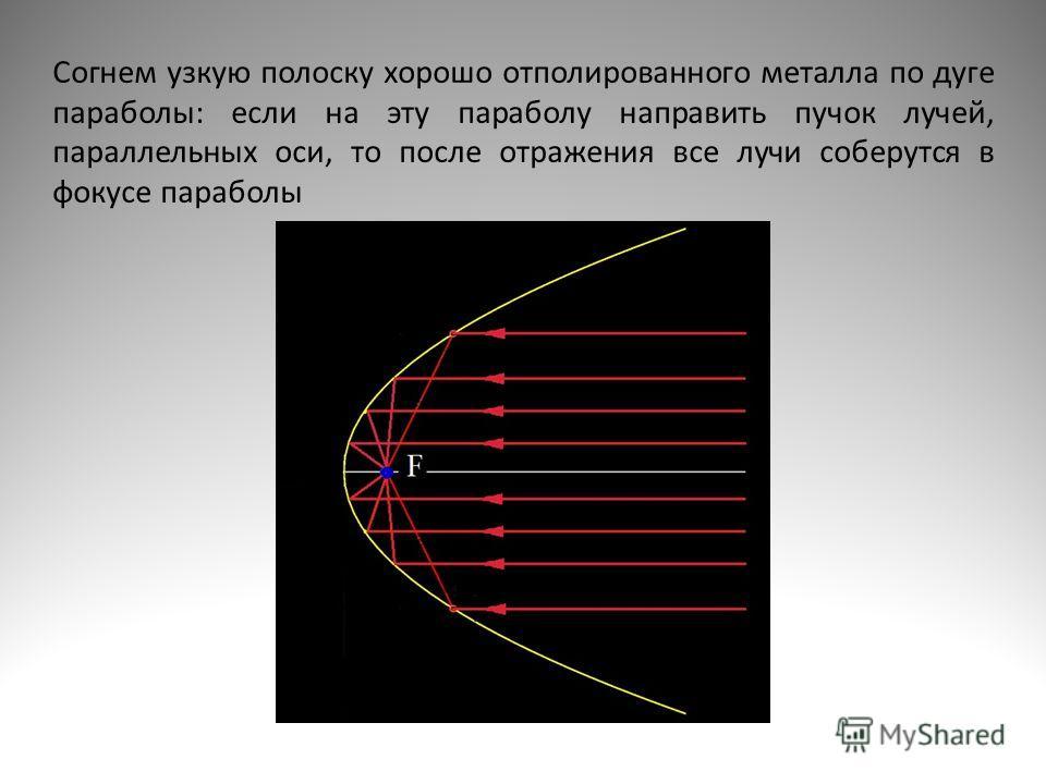 Согнем узкую полоску хорошо отполированного металла по дуге параболы: если на эту параболу направить пучок лучей, параллельных оси, то после отражения все лучи соберутся в фокусе параболы
