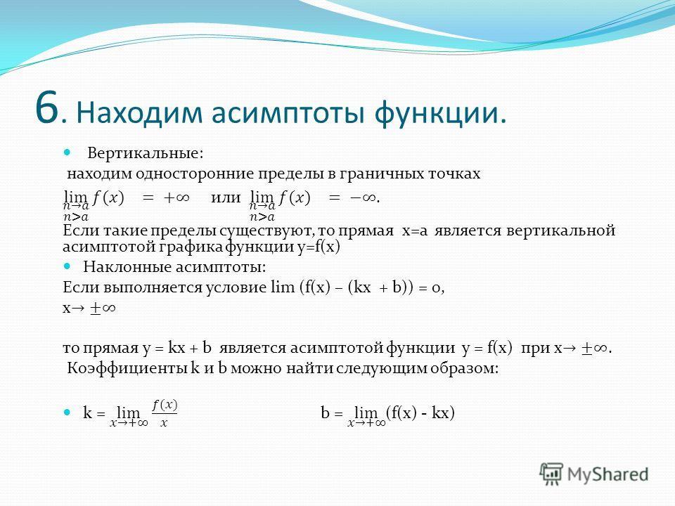 6. Находим асимптоты функции.