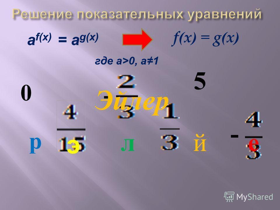Показательное уравнение а f(x) = а g(x) где а>0, а1 равносильно уравнению f ( x ) = g ( x )