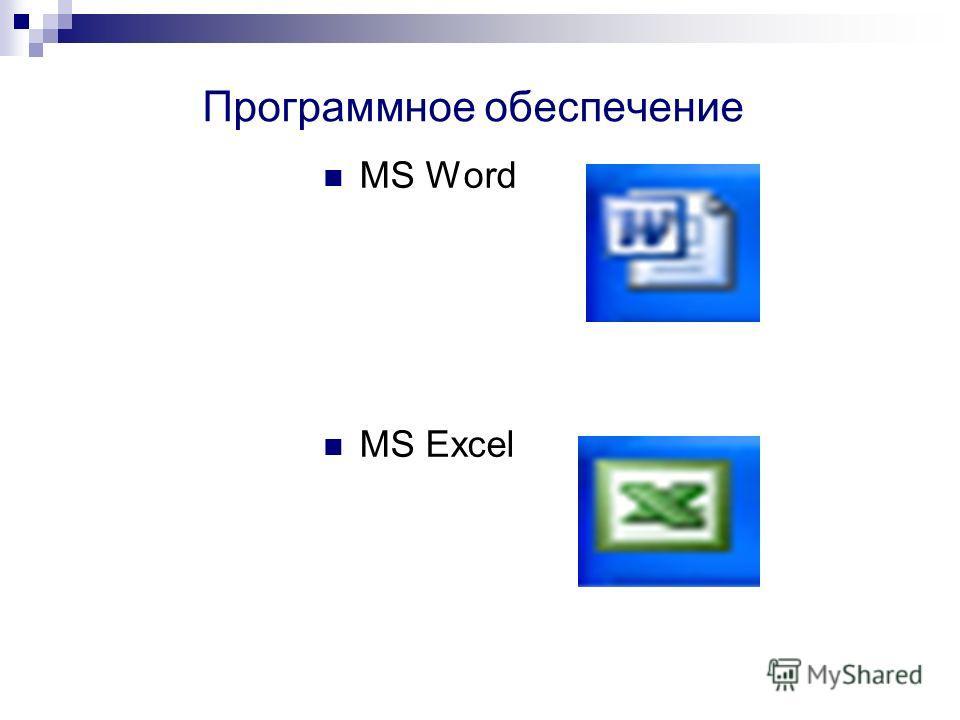 Программное обеспечение MS Word MS Excel