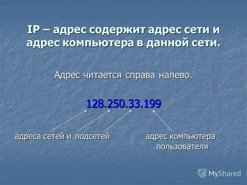 IP – адрес содержит адрес сети и адрес компьютера в данной сети. Адрес читается справа налево. 128.250.33.199 адреса сетей и подсетей адрес компьютера пользователя