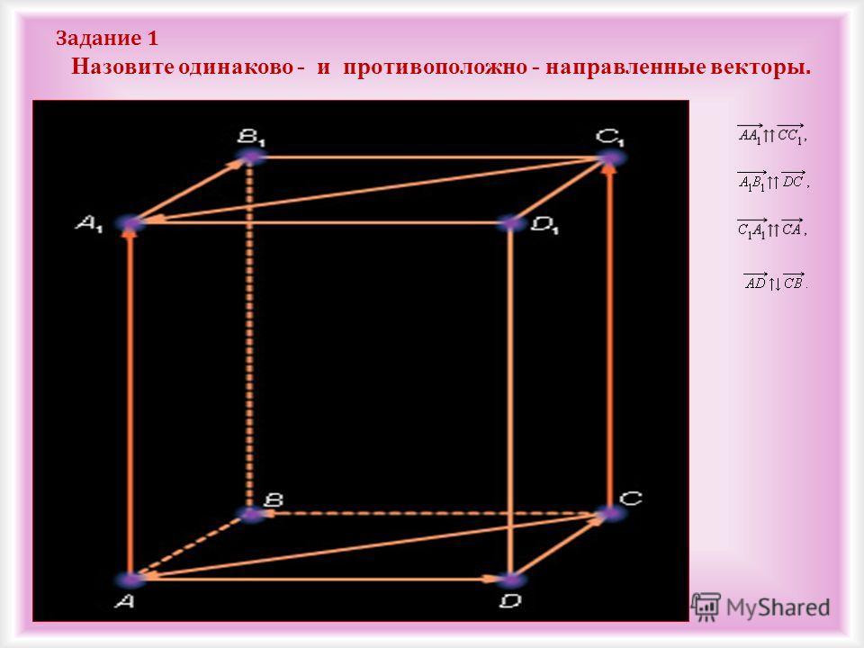 Задание 1 Назовите одинаково - и противоположно - направленные векторы.
