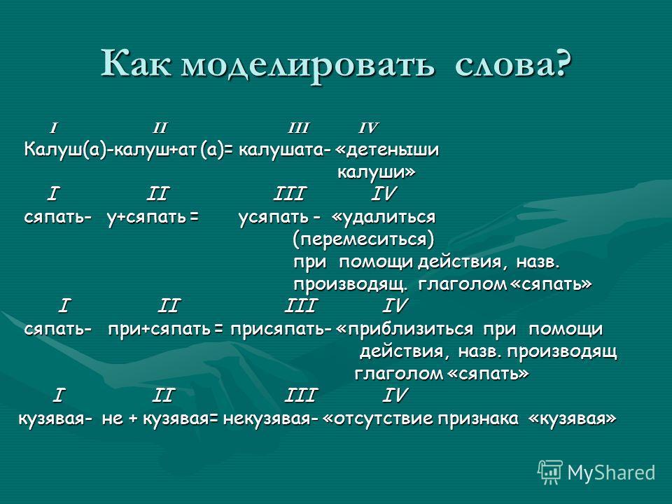 Как моделировать слова? I II III IV I II III IV Калуш(а)-калуш+ат (а)= калушата- «детеныши Калуш(а)-калуш+ат (а)= калушата- «детеныши калуши» калуши» I II III IV I II III IV сяпать- у+сяпать = усяпать - «удалиться сяпать- у+сяпать = усяпать - «удалит