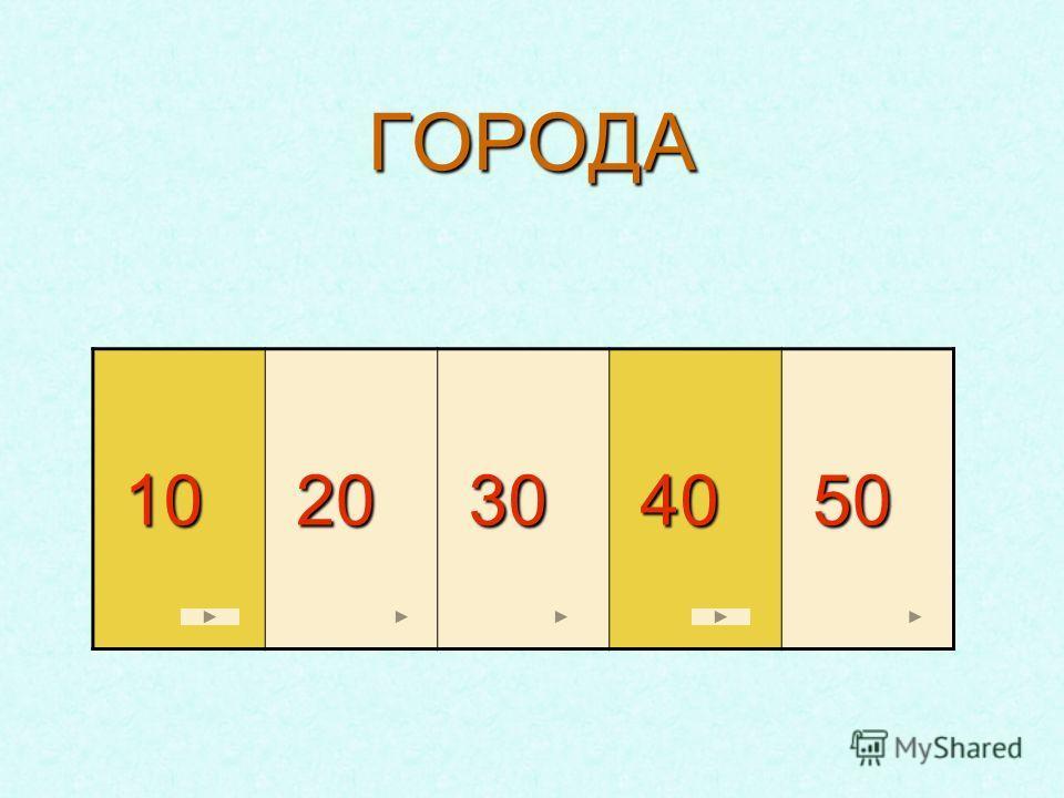 ГОРОДА 10 10 20 20 30 30 40 40 50 50
