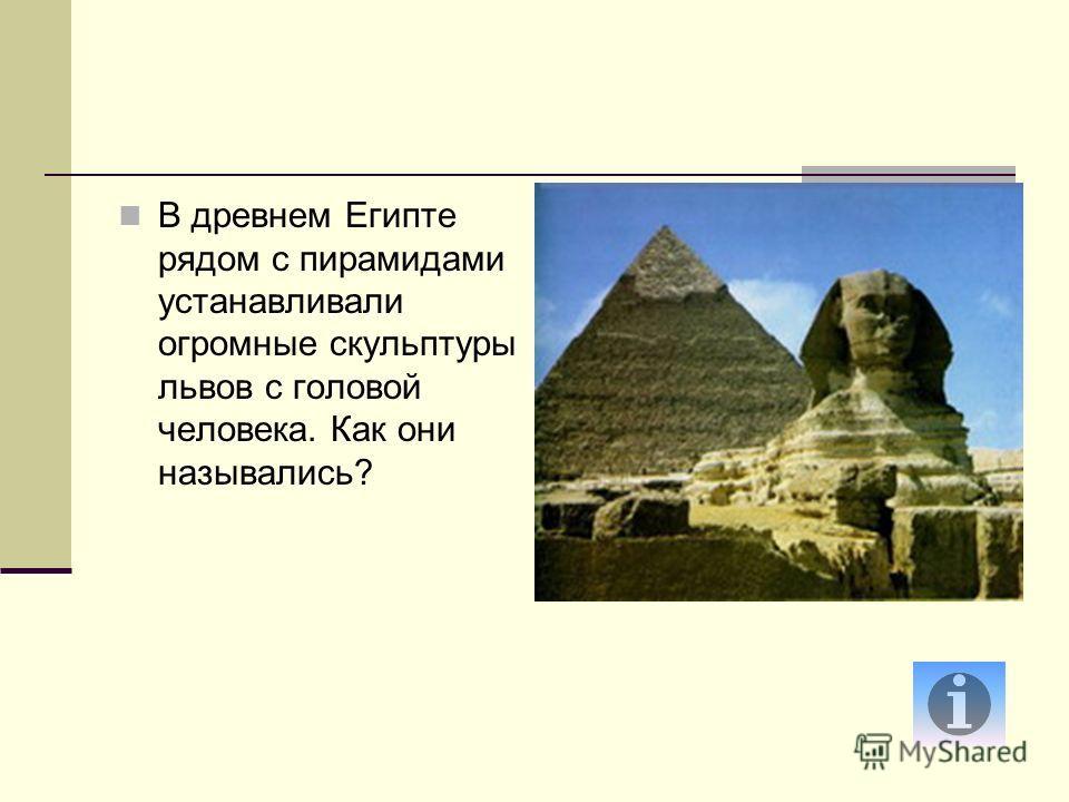 В древнем Египте рядом с пирамидами устанавливали огромные скульптуры львов с головой человека. Как они назывались?