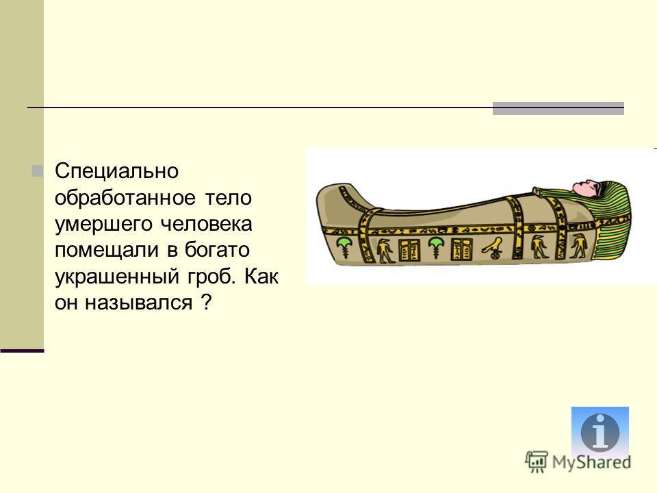 Специально обработанное тело умершего человека помещали в богато украшенный гроб. Как он назывался ?