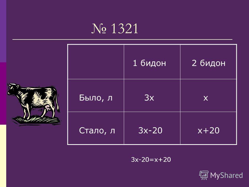 1321 1 бидон 2 бидон Было, л 3х х Стало, л 3х-20 х+20 3х-20=х+20