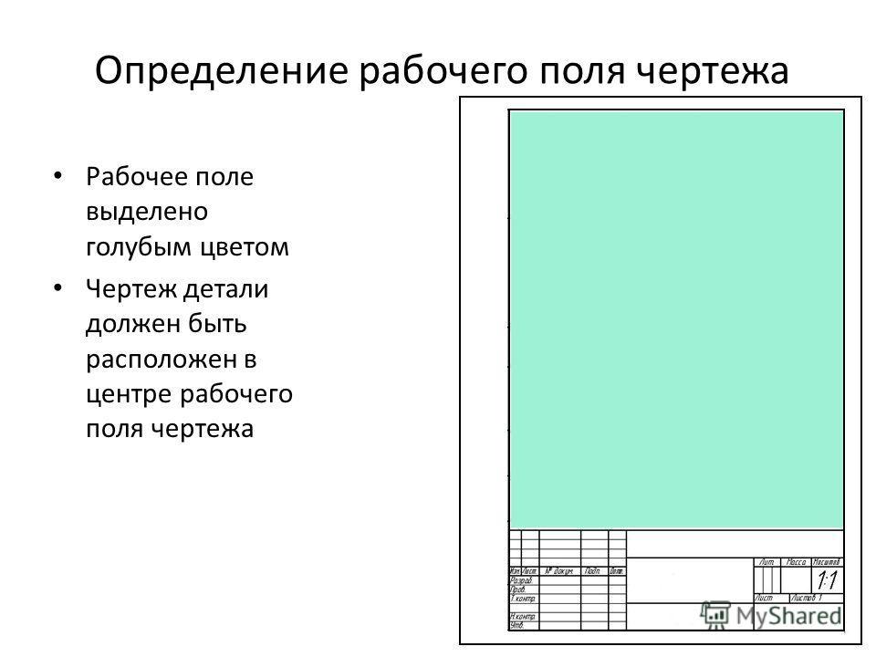 Определение рабочего поля чертежа Рабочее поле выделено голубым цветом Чертеж детали должен быть расположен в центре рабочего поля чертежа