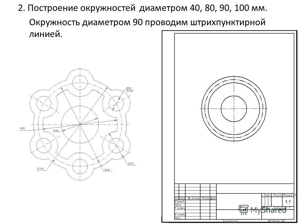 2. Построение окружностей диаметром 40, 80, 90, 100 мм. Окружность диаметром 90 проводим штрихпунктирной линией.
