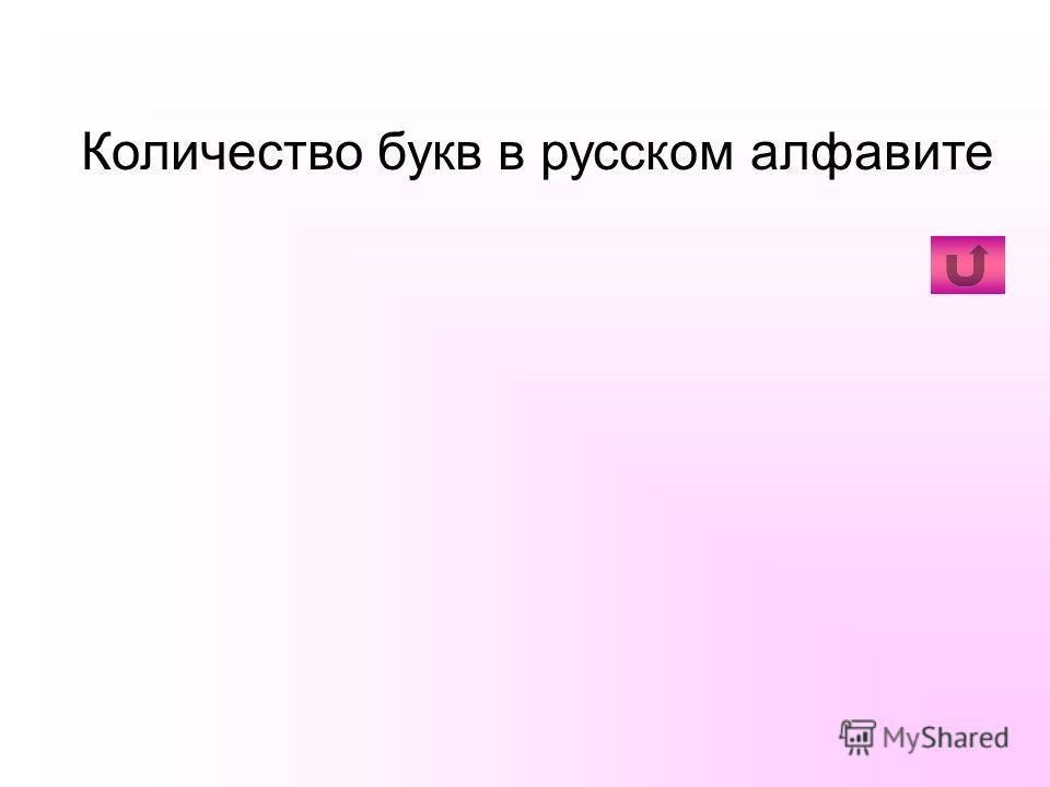 Количество букв в русском алфавите