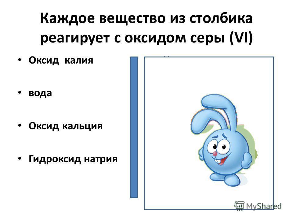 Каждое вещество из столбика реагирует с оксидом серы (VI) Оксид калия вода Оксид кальция Гидроксид натрия Нитрат натрия Оксид лития Оксид магния Сульфат калия