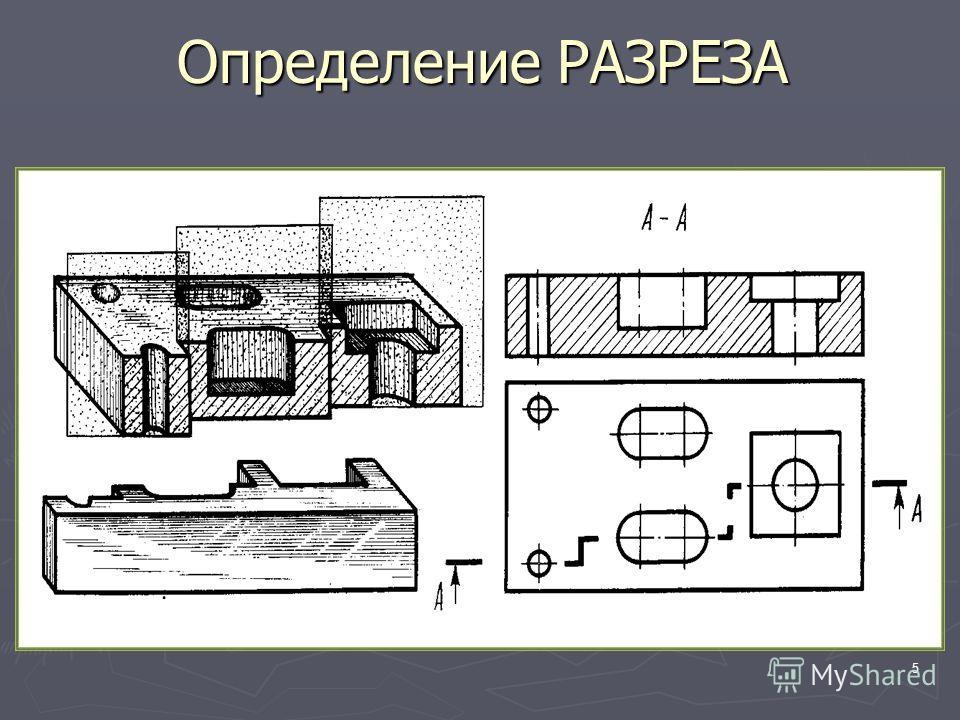 5 Определение РАЗРЕЗА РАЗРЕЗ – это изображение предмета, мысленно рассеченного плоскостью (или несколькими плоскостями)