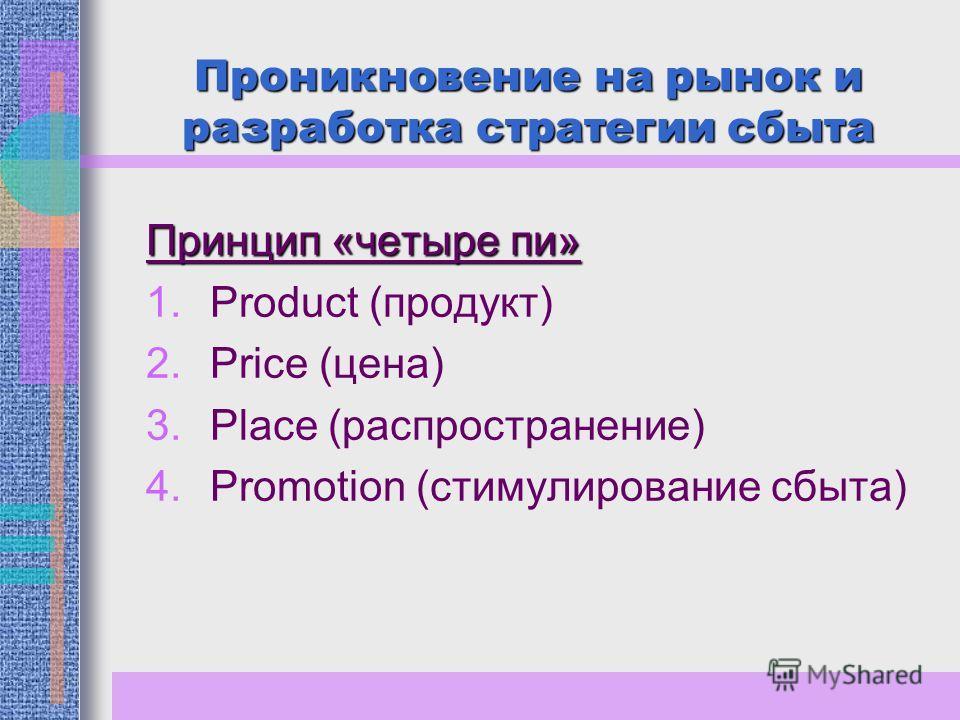 Проникновение на рынок и разработка стратегии сбыта Принцип «четыре пи» 1.Product (продукт) 2.Price (цена) 3.Place (распространение) 4.Promotion (стимулирование сбыта)