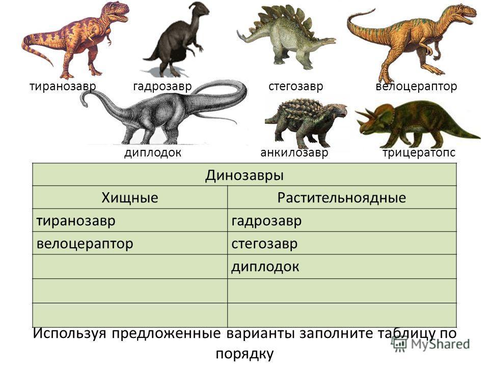Используя предложенные варианты заполните таблицу по порядку Динозавры ХищныеРастительноядные тиранозавргадрозавр велоцерапторстегозавр диплодок тиранозавр гадрозавр стегозавр велоцераптор диплодок анкилозавр трицератопс