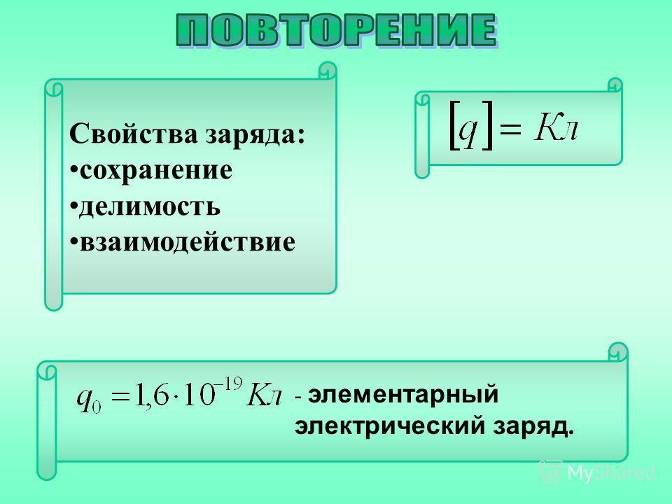 Свойства заряда: сохранение делимость взаимодействие - элементарный электрический заряд.