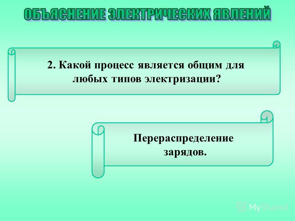 2. Какой процесс является общим для любых типов электризации? Перераспределение зарядов.