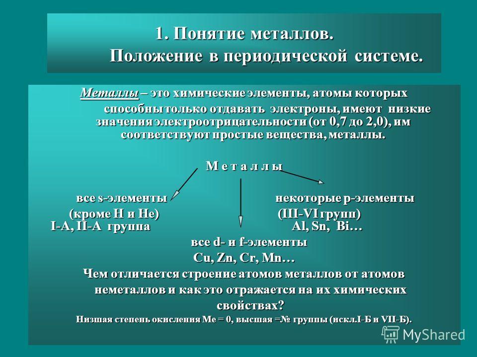 1. Понятие металлов. Положение в периодической системе. Металлы – это химические элементы, атомы которых способны только отдавать электроны, имеют низкие значения электроотрицательности (от 0,7 до 2,0), им соответствуют простые вещества, металлы. спо