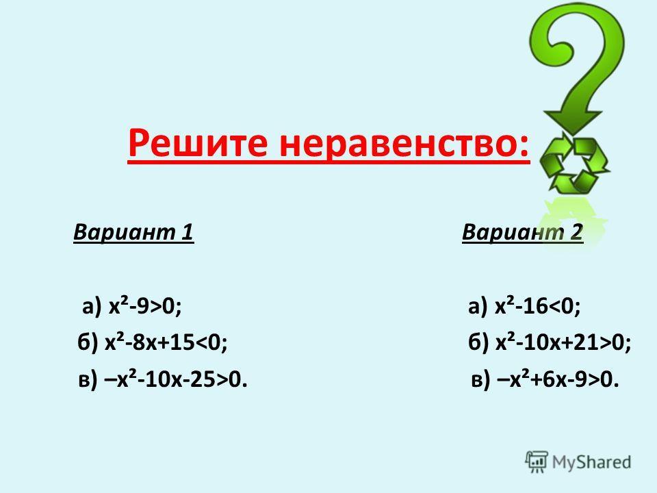 Решите неравенство: Вариант 1 Вариант 2 а) х²-9>0; а) х²-160. в) –х²+6х-9>0.