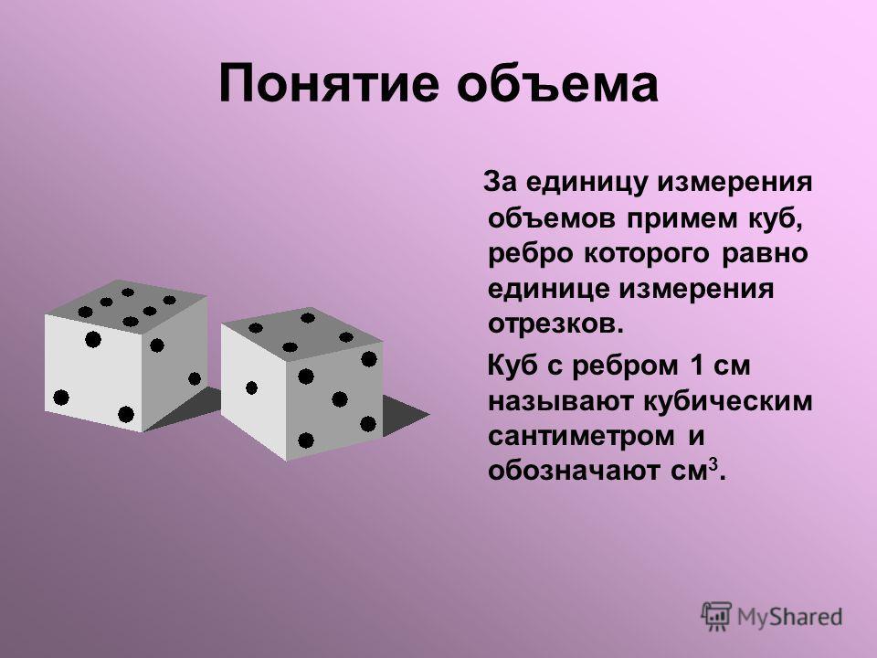 Понятие объема За единицу измерения объемов примем куб, ребро которого равно единице измерения отрезков. Куб с ребром 1 см называют кубическим сантиметром и обозначают см 3.
