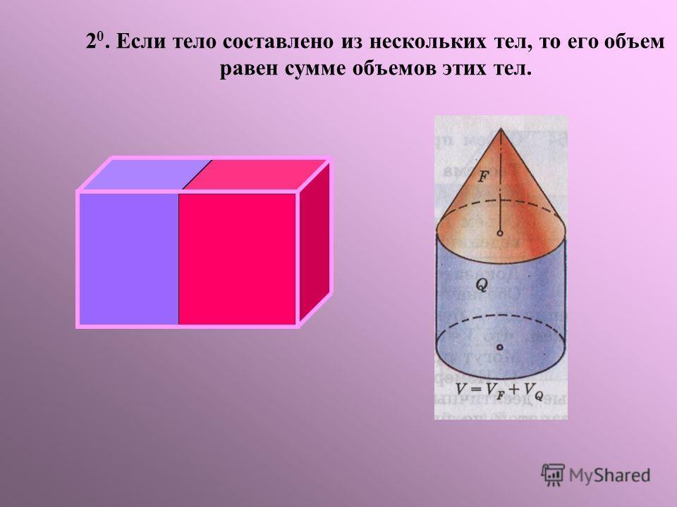 2 0. Если тело составлено из нескольких тел, то его объем равен сумме объемов этих тел.