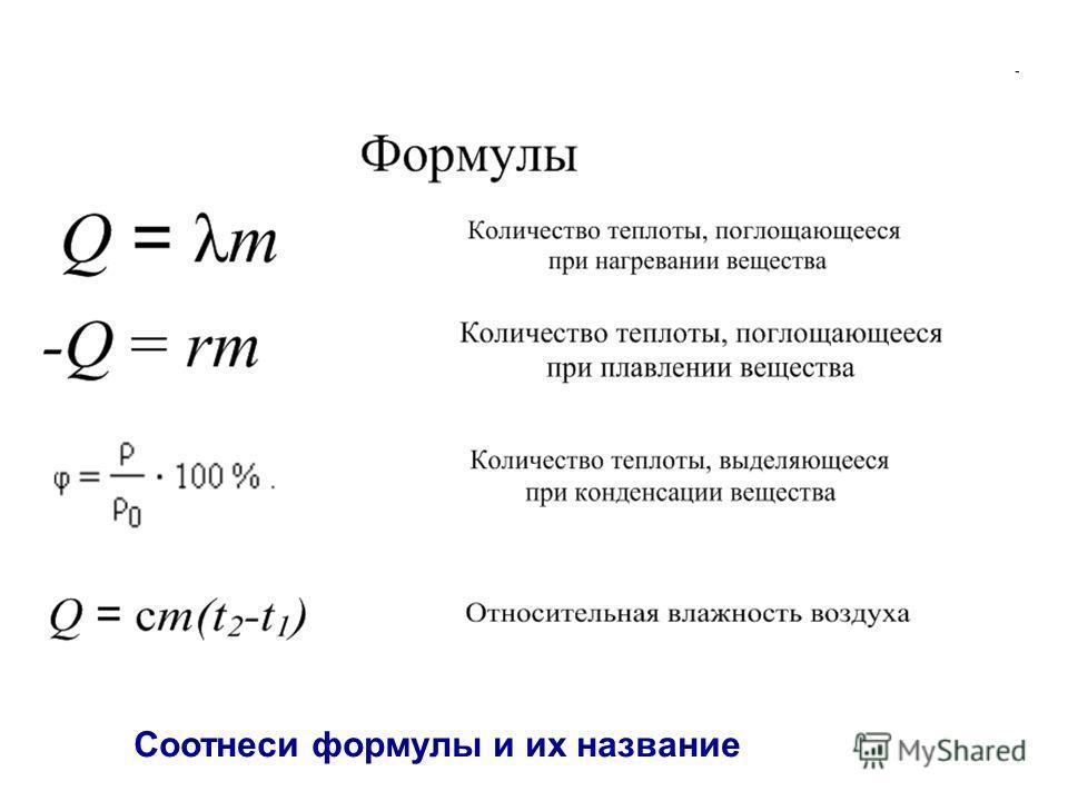Соотнеси формулы и их название