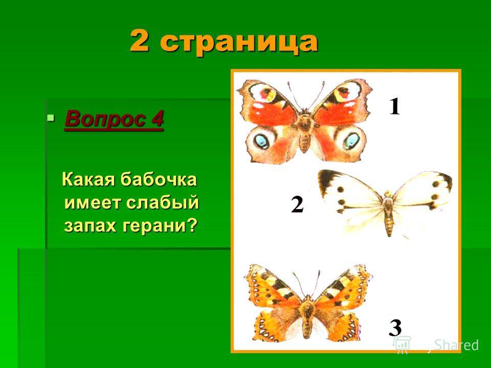 2 страница 2 страница Вопрос 4 Вопрос 4 Какая бабочка имеет слабый запах герани? Какая бабочка имеет слабый запах герани?