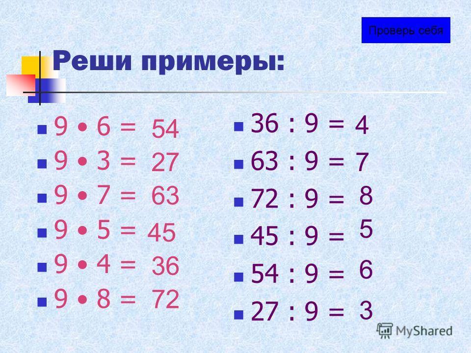 Из скольких кирпичей состоит кладка? 9 5 = 45 45 : 9 = 5 45 : 5 = 9