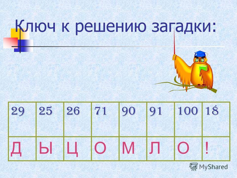 Самостоятельная работа. ЗАГАДКА. 45 + 45 =100 – 71 = 76 + 24 =90 – 64 = 82 + 9 =64 – 46 = 35 + 36 = 41 – 14 =