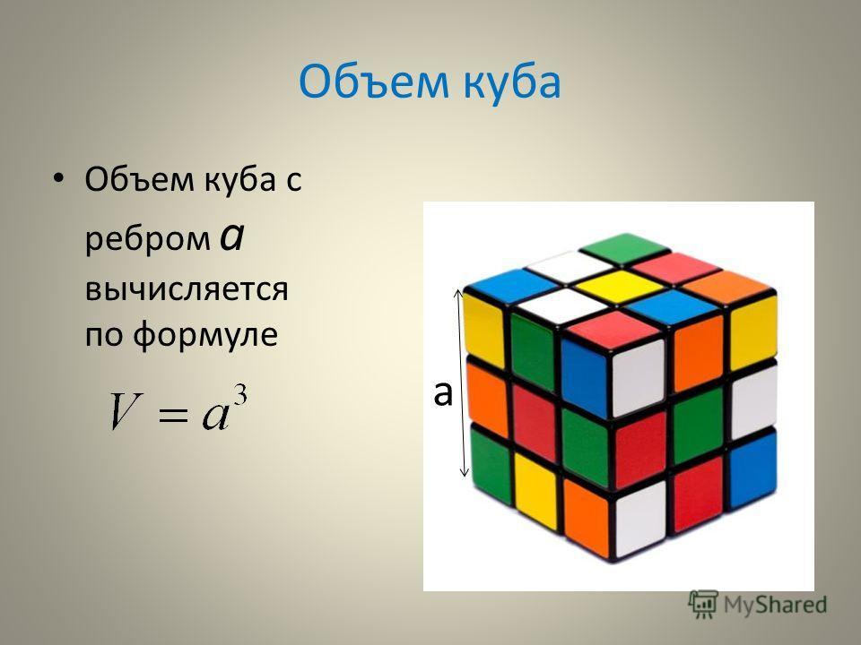 Объем куба Объем куба с ребром а вычисляется по формуле а