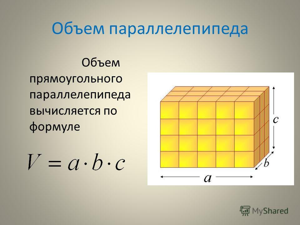 Объем параллелепипеда Объем прямоугольного параллелепипеда вычисляется по формуле