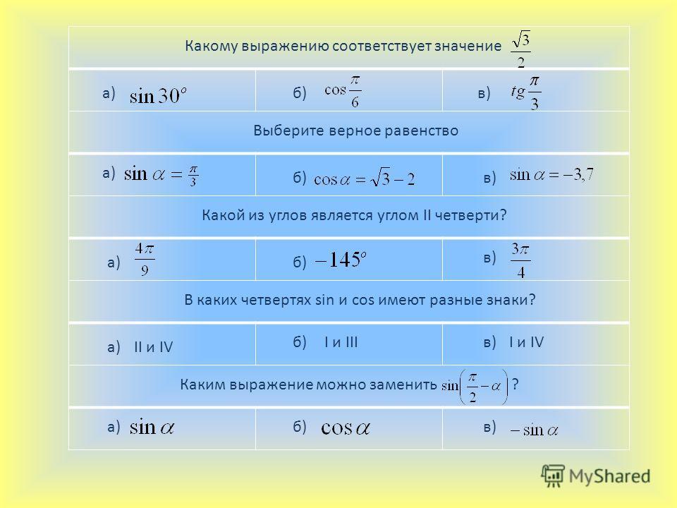 Какому выражению соответствует значение а)б)в) Выберите верное равенство а) б)в) Какой из углов является углом II четверти? а)б) в) В каких четвертях sin и cos имеют разные знаки? а)II и IV б)I и IIIв)I и IV Каким выражение можно заменить ? а)б)в)