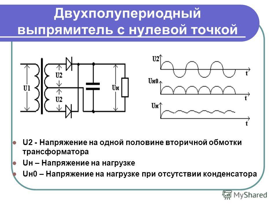 Двухполупериодный выпрямитель с нулевой точкой U2 - Напряжение на одной половине вторичной обмотки трансформатора Uн – Напряжение на нагрузке Uн0 – Напряжение на нагрузке при отсутствии конденсатора
