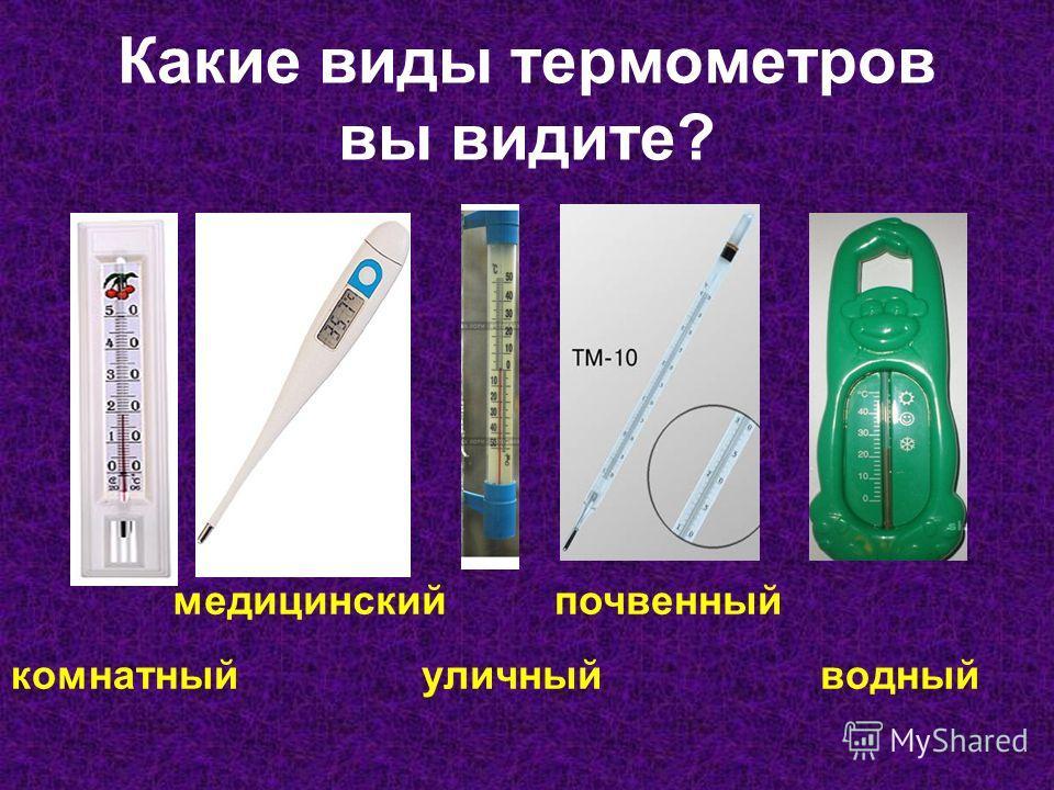 Какие виды термометров вы видите? комнатный медицинский уличный почвенный водный