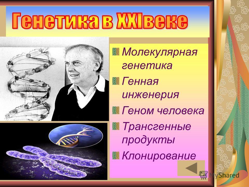 Молекулярная генетика Генная инженерия Геном человека Трансгенные продукты Клонирование
