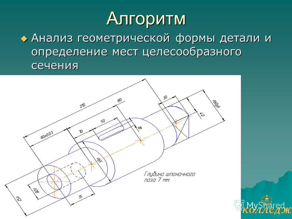 Алгоритм Анализ геометрической формы детали и определение мест целесообразного сечения