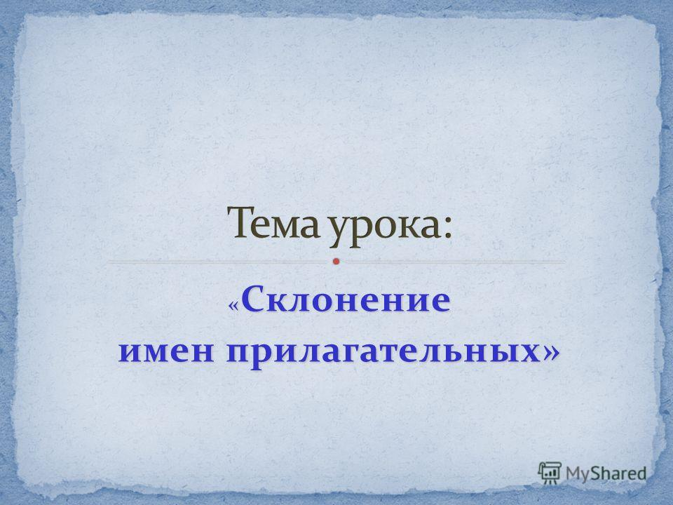 « Склонение имен прилагательных»