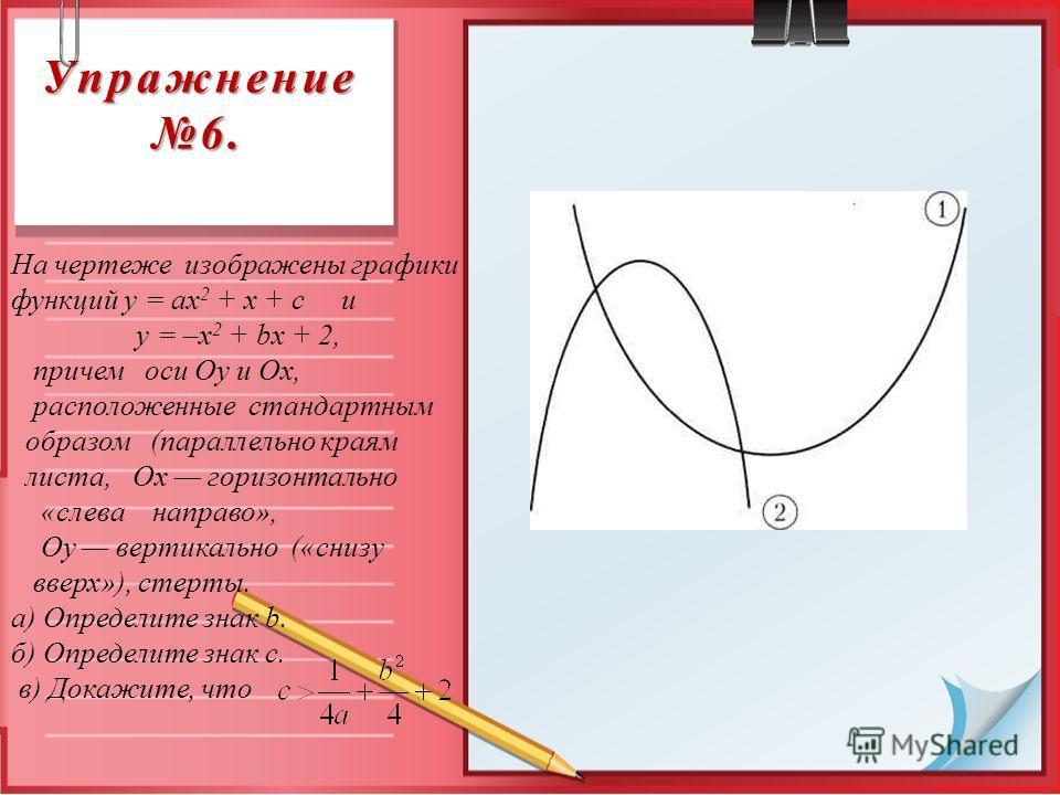 Упражнение 6. На чертеже изображены графики функций у = ах 2 + х + с и у = –х 2 + bх + 2, причем оси Оу и Ох, расположенные стандартным образом (параллельно краям листа, Ох горизонтально «слева направо», Оу вертикально («снизу вверх»), стерты. а) Опр