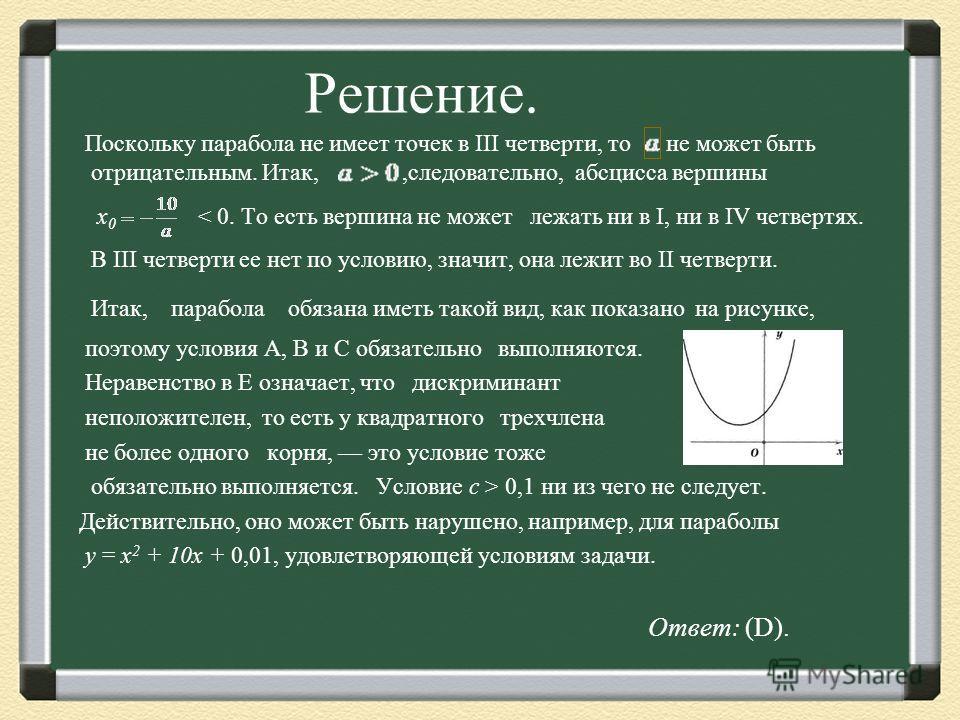 Решение. Поскольку парабола не имеет точек в III четверти, то не может быть отрицательным. Итак,,следовательно, абсцисса вершины х 0 < 0. То есть вершина не может лежать ни в I, ни в IV четвертях. В III четверти ее нет по условию, значит, она лежит в