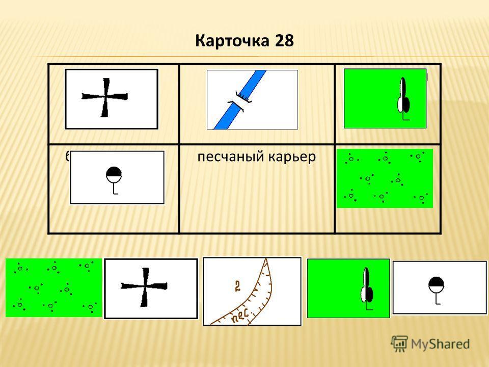 церковьплотина лиственный лес бензоколонкапесчаный карьеркустарник Карточка 28