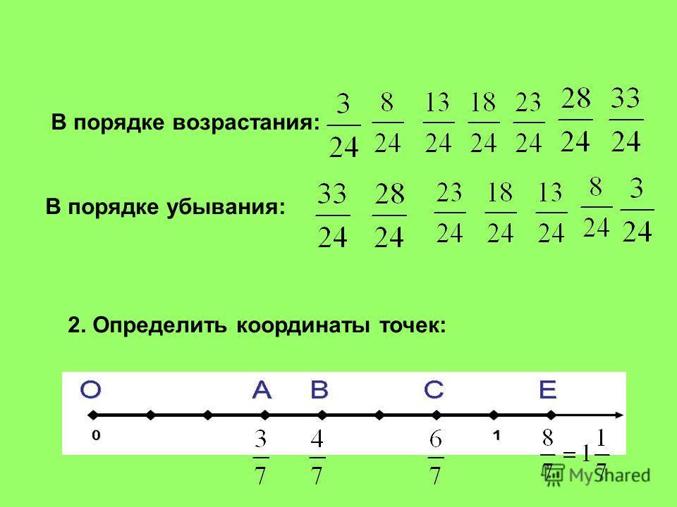 В порядке возрастания: В порядке убывания: 2. Определить координаты точек: