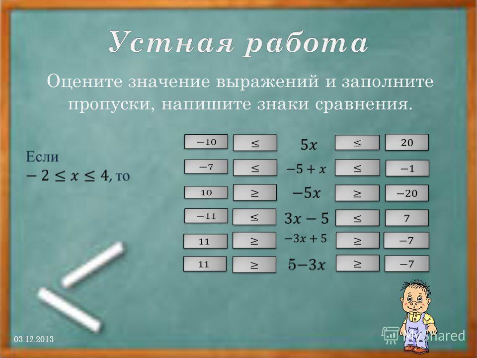 Оцените значение выражений и заполните пропуски, напишите знаки сравнения. 03.12.2013
