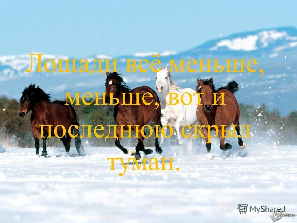 Лошади всё меньше, меньше, вот и последнюю скрыл туман..
