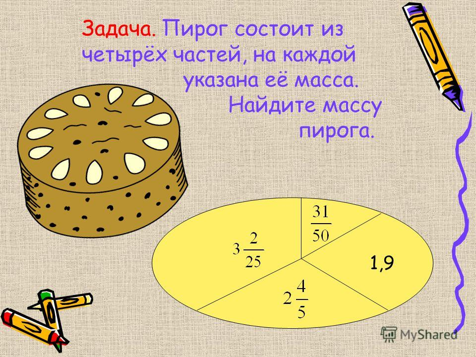 Задача. Пирог состоит из четырёх частей, на каждой указана её масса. Найдите массу пирога. 1,9